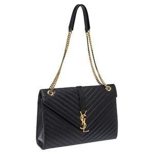 YSL black matelasse large cassandre flap bag